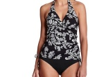 This is a black and white halter-style tankini.