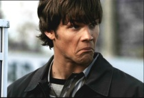 """Sam makes a funning face after reading """"the mysterious Mr. Fortensky."""""""