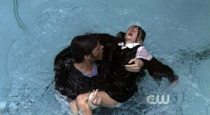 Sam rescues Tyler, a young girl, from drowning.