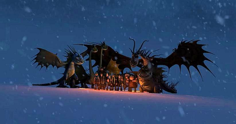 The dragons protect the humans and animals in a snowstorm.