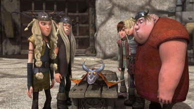 The Viking teens study a newly discovered dragon.