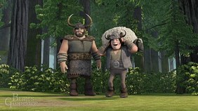 Snotlout and his father Spitelout prepare for the Thawfest games.