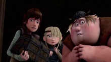 Hiccup, Astrid, and Fishlegs are scared.