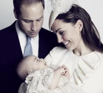 Prince William, Kate Middleton, and Prince George pose for the Christening photo.