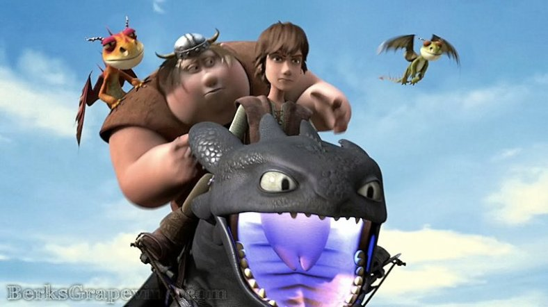 Fishlegs joins Hiccup on the back of Toothless to save Meatlug from capture.