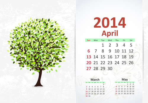 A newly green tree adorns a calendar for April .2014