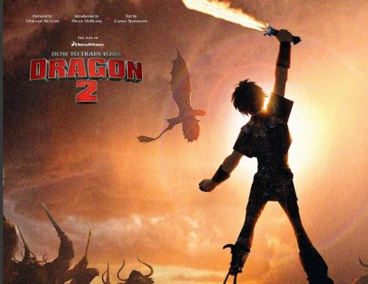 Hiccup wields his firesword in a poster for How to Train Your Dragon 2.