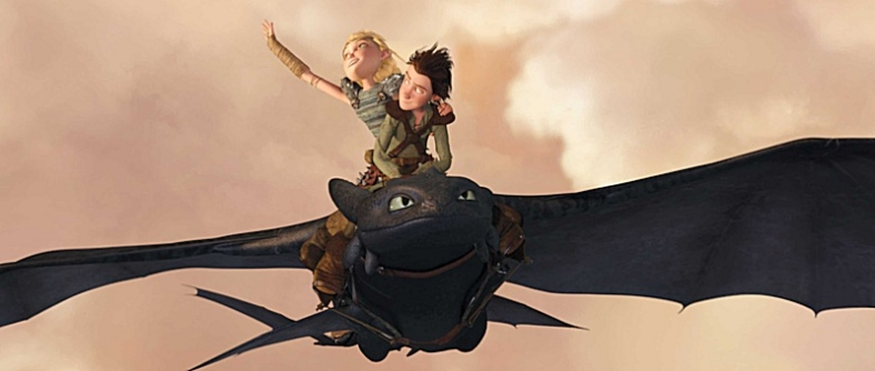 Hiccup takes Astrid for a ride on Toothless