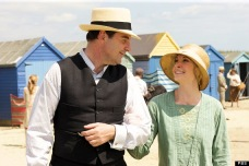 John and Anna Bates enjoy a walk in the sunshine.