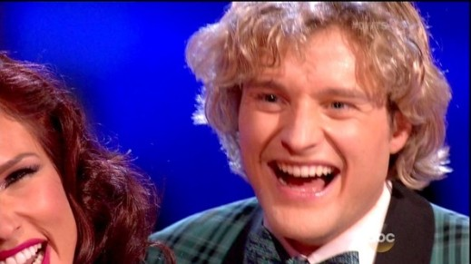 Charlie White recieves his scores after dancing a jive.