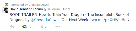 Cressida Cowell retweeted a notice from David Tennant Forums
