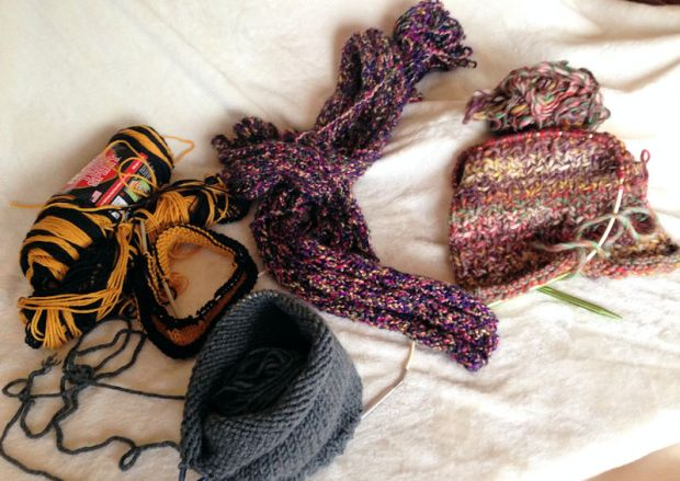 I'm currently knitting two scarves and two hats.