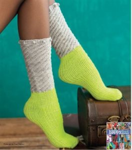 "The ""Do the Twist"" tube socks pattern comes from the book ""Happy Feet"" by Cathy Carron, via Knitting Daily TV."