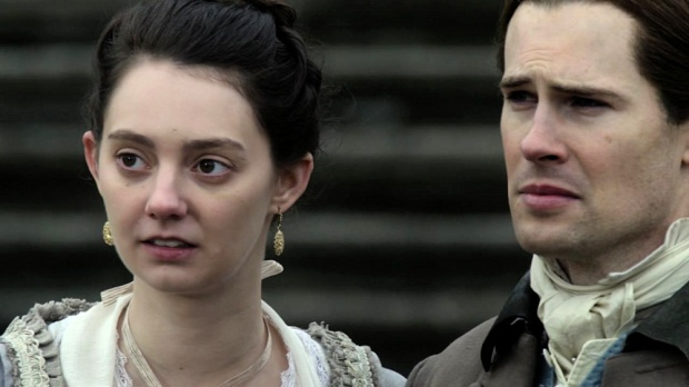 Lady Isobel and Lord John Grey say goodbye to Jamie.