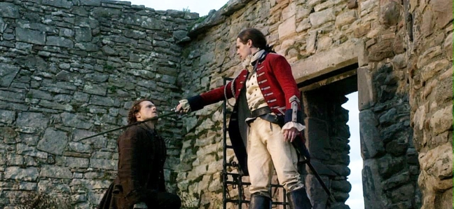 Lord John holds a sword to Jamie's throat.